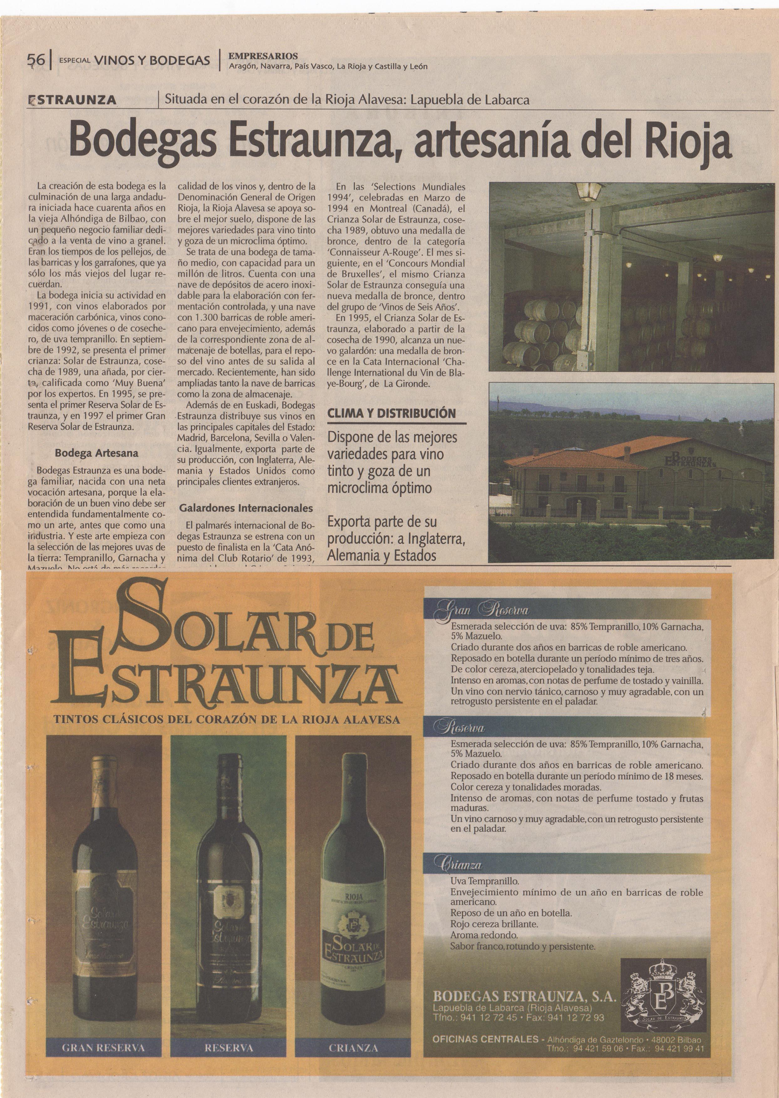 Bodegas Estraunza en el diario Empresarios