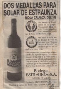 """Crianza del 89 """"Solar de Estraunza"""""""